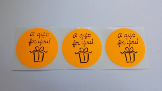 Orange Sticker Label / Set of 15 / Envelope Bag Seals Retail Promotional Packaging Gift for You