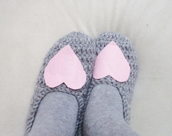 Crochet Slippers Unique Socks Heart Socks Heart Slippers Women  Accessories Romantic Gifts Wool Grey Socks Shoes Winter Gifts For Her