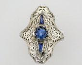18 Karat White Gold Filigree Blue Sapphire Ring