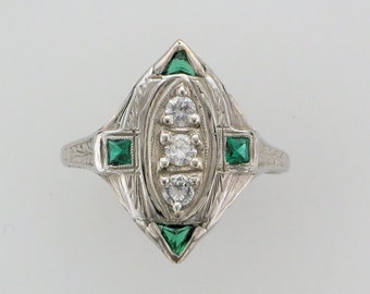 Diamond and Man Made Emerald Filigree Ring; Antique Diamond and Emerald Ring; Vintage Diamond and Emerald Ring; Edwardian Diamond Ring