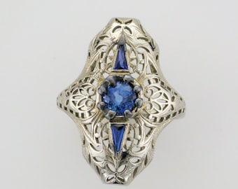 White Gold Filigree Sapphire Ring, Antique Filigree Ring, Filigree Ring, Sapphire Ring, September Birthstone, Birthstone Ring, Blue Sapphire