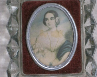 Lady's Portrait on Celluloid With Velvet Background In Glass Frame - Vintage Antique - Cameo Creation - Home Decor