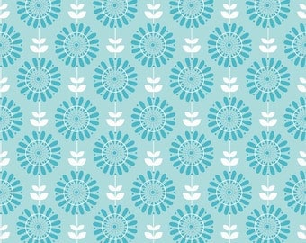 Twice as Nice by The Quilted Fish Riley Blake Fabric - Blue Garden - 1 Yard Cut - Cotton Fabric
