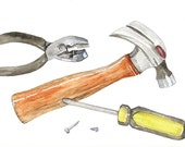 Tools Giclee Print, Hammer, Screwdriver, Pliers Watercolor, Painting of Hand Tools for Man's Workshop, Home Decor Wall Art Picture