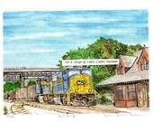 CSX Coal Train at Brunswick Station Matted Art Print of Original Watercolor Painting, Maryland Art