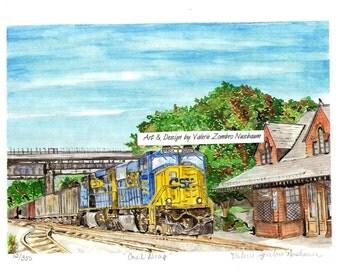 Brunswick Maryland Art, CSX Coal Train at Brunswick Station Watercolor, Matted Art Print, Railroad Painting, Engine and Boxcars Picture
