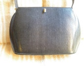 vintage french black genuine lizard leather bag,women accessory from 1940-50' in great condition