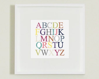 ABC Alphabet Illustration Print Decor for Nursery, Playroom or Children's Room