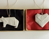 Special Order for Emiko Condeso, Porcelain Origami Heart Pendants