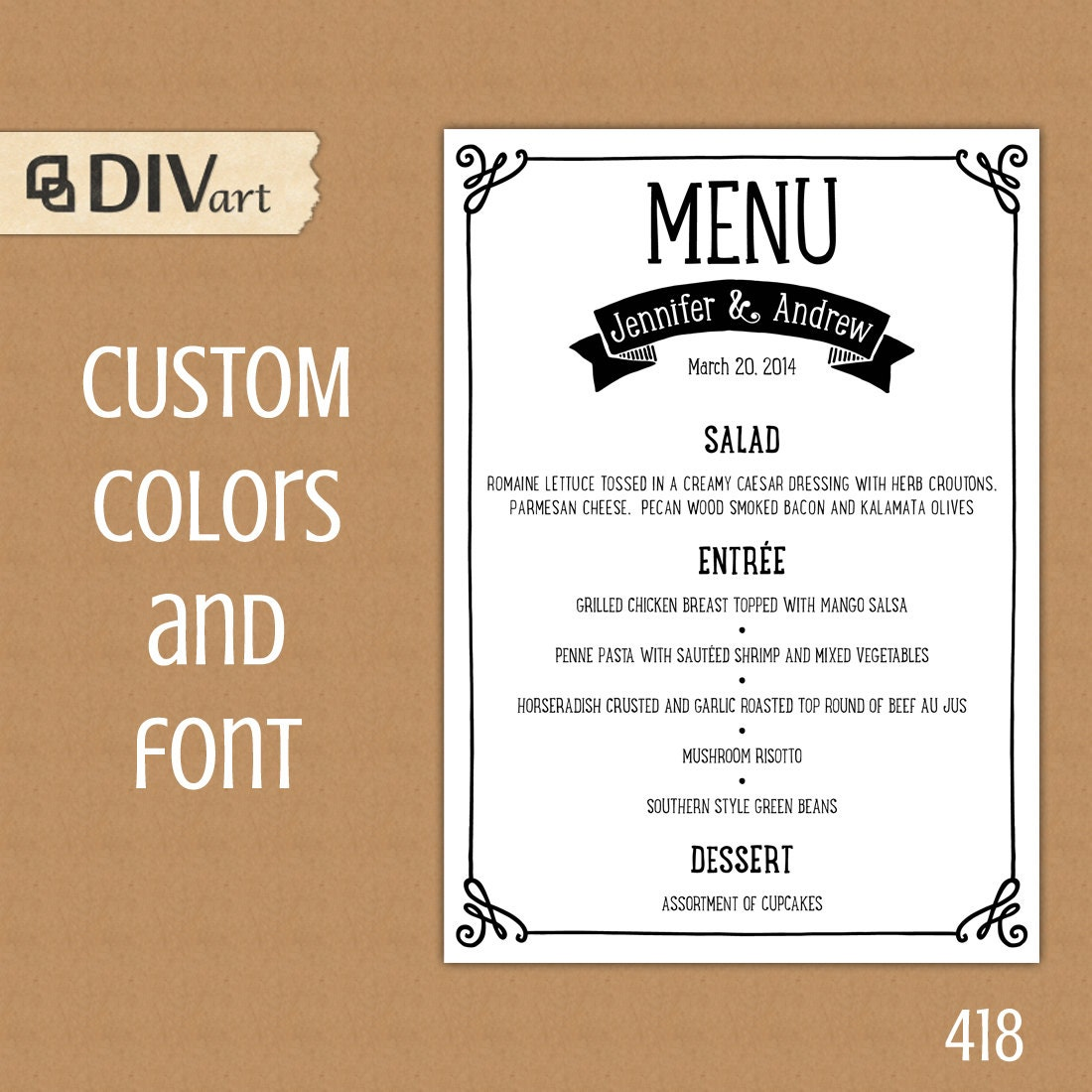 Printable Wedding Menu Rehearsal Dinner Menu Reception Menu