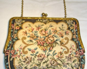 Vintage  1950's English Ladies Ornate Tapestry Clutch Purse Handbag