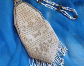 White Beaded Bag with Silver Lined Crystal Bridal Bag with Art Nouveau Frame