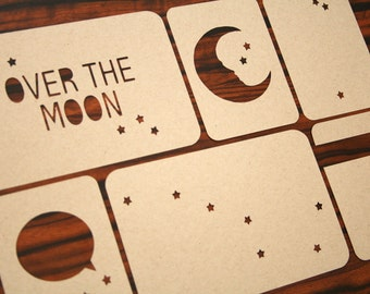 Project Life-Inspired 3x4 and 4x6 Journaling Cards Set - Over The Moon Stars Design Kraft Cardstock
