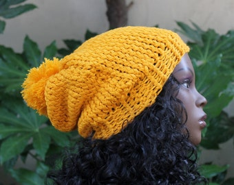 Hand Knit, Golden Yellow, Acrylic, Slouchy, Beanie Hat with Large, Shaggy Pom Pom for Woman or Man Fall Wiinter Back to School