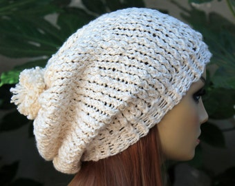 Hand Knit, 100 Percent Organic Cotton, Cream/Off White, Slouchy, Over Sized, Beanie Hat with Small, Shaggy, Cream Pom Pom