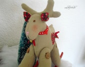OOAK Musical reindeer- Rocking Reindeer with music box- Christmas decoration- Waldorf toy- handmade unique toy