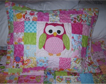Nursery owl pillow sham to match scrappy owl quilt from this shop, add on to your quilt order