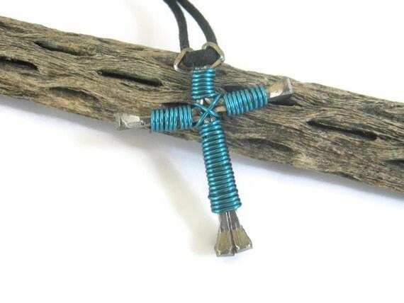 Horseshoe Nail Cross Necklace Electric Blue by Abundantearthworks