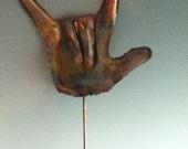 I lOVE yOU GARDEN sTAKE: Copper garden art metal sculpture.