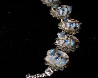 Vintage Shell Bracelet with Faux Sapphire Faceted Stones & Small Blue Shells