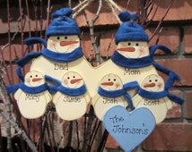 Family of 6: Personalized Fleece Snowman Ornament