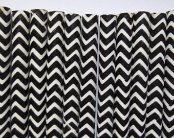 25 Black Chevron Paper Straws- Black Zig Zag Straw- Birthday Decorations, Cake Pops- Halloween Party