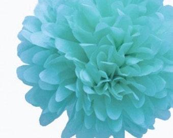 "4"" Aqua/Turquoise Tissue Paper Pom Poms- Mini Paper Flower Pom- Wedding Decoartion- Baby Shower-Bridal Decor-Hanging Room Paper Pom-Birthday"