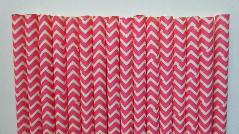 25 Hot Pink Chevron Paper Straws Hot Pink White Zig Zag Straw