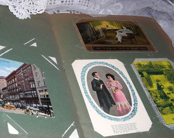Victorian Postcard Album......    Shabby Cool  Album With Old Postcards ........1900's ........... BK1