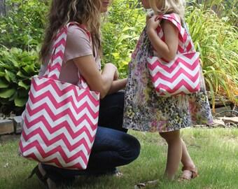 X-SMALL bright pink and white CHEVRON stripe zigzag Handbag/ Purse/ Tote/ Flower Girl Gift