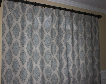 CHOOSE YOUR FABRIC!- Pair of Custom Window Curtains/ Drapes/ Panels- Premier Prints Monroe Cadet/Oatmeal