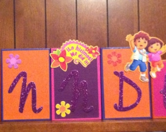 DORA Disney Custom Name Kids/Baby Room Wood Blocks