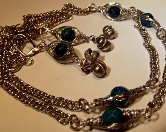 Necklace Handmade Wire Wrapped Azurite Stones with Bonus Earrings Long Boho Vintage Look Silver