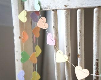 Pastel Rainbow Sweet heart garland - 10 feet (3 metres) Wedding, Engagement, First 1st Birthday, Baby Shower, Nursery, photo prop
