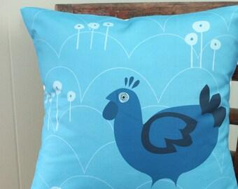 Blue Scandinavian Hen Pillow Cover 16x16