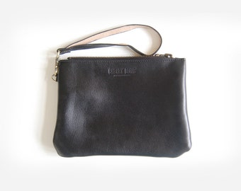 Black Charlie Bag (small) - Handmade Leather Clutch