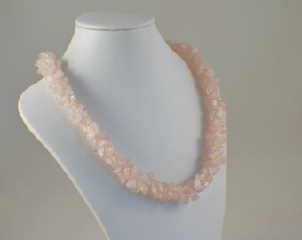 Iridescent necklace pink beaded kumihimo necklace with silver cord ends and clasp