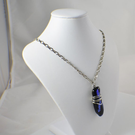 Glass necklace dichroic glass wire wrapped pendant on antique silver plated chain ladies black glass necklace