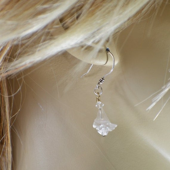 Dangle earrings frost white lucite and crystal earlings on handmade sterling silver french wires