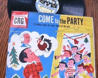 vintage retro rage ... COME to the PARTY  Record from Childrens Record Guild series ...