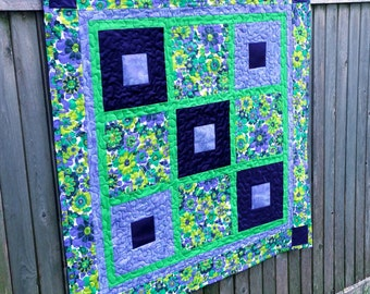 Custom Baby Quilt Using Bridesmaid Dress Fabric - Repurpose, Upcycle, Memory Quilt - Purple 9 Patch