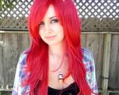 Dark Cherry Red / Long Straight Wavy Layered Wig Full Body