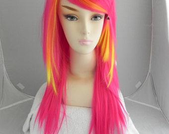Pink Lemonade / Hot Pink and Yellow/ Long Straight Layered Wig