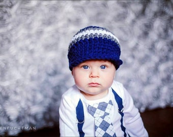 Navy and Grey Argyle Baby Boy Tie Bodysuit with Suspenders and Crocheted Hat - Little Man, Argyle, Easter