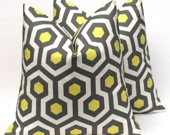 Yellow Gray Pillow  Decorative Throw Pillow 18x18 Throw Pillow covers TWO Pillow  Yellow Cushion  Housewares Printed Fabric both sides