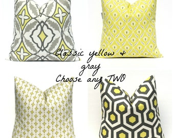 Throw Pillow Covers 18x18  Yellow Gray Pillow Bright Yellow Pillow  Cushion Decorator Pillow Covers Housewares Printed Fabric both sides