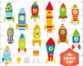 Spaceship Rockets Clip Art ---- Personal and Small Commercial Use ---- BB 0814