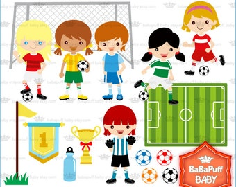 Football Race Girls ---- Soccer Clip Art, Personal and Small Commercial Use ---- BB 0379