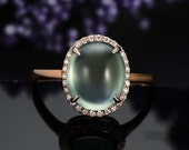 Engagement Ring -  3.5 Carat Prehnite Engagement Ring With Diamonds In 14K Rose Gold