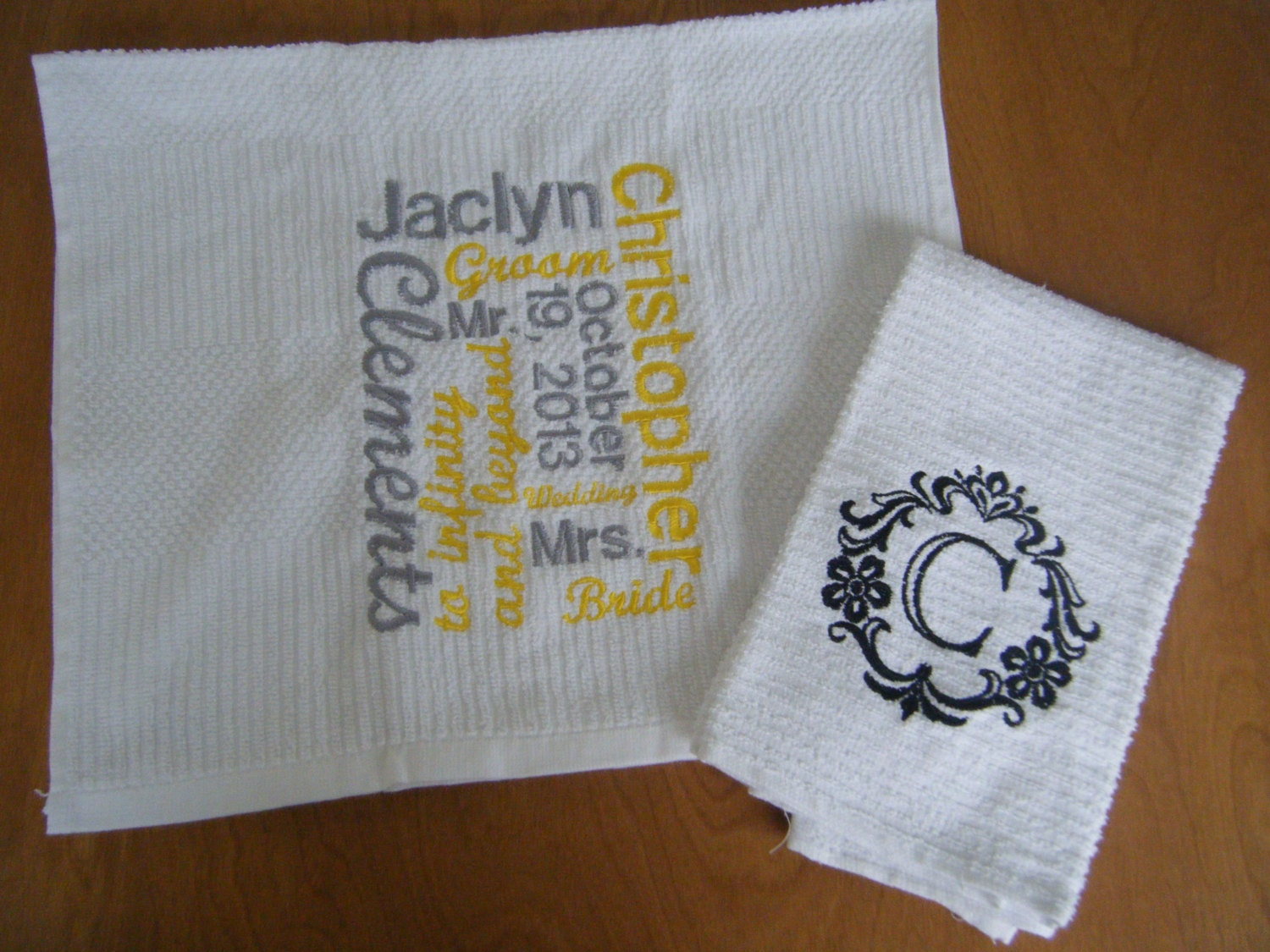 Personalized Kitchen Towel Set Wedding Gift Set by Crafting4Caleb